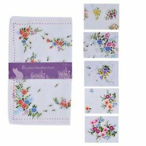 16 Pack Ladies Hankies Handkerchiefs White Floral Print Cotton Polyester