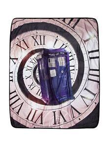 Doctor Who Velveteen Throw/Blanket TARDIS Time Vortex Clock