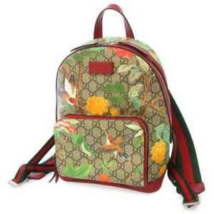 GUCCI GG Supreme Tian Backpack GG Supreme/Leather Beige/Red 427042