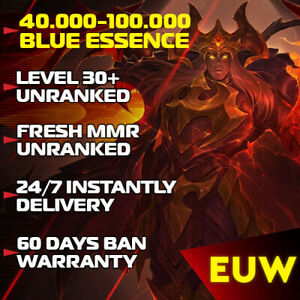EUW League of Legends EUW LoL Account 30-40 Level accounts Smurf BE Unranked  PC
