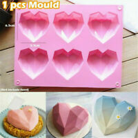 Silicone 3D Heart Shape Fondant Cake Chocolate Baking Mold Mould Modelling Decor