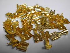 100 Flachsteckhülsen unisoliert, Messing, vergoldet, Steckmaß 6,3, 1,0 - 2,5 mm²