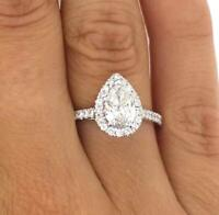 1.78 Carat Pear Cut Diamond Engagement Ring VS2/F White Gold 18k 6214