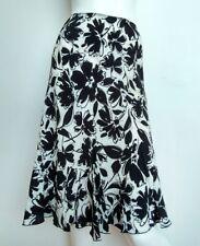 HOBBS floral slip-on skirt size 12 --USED ONCE-- knee length black/ivory