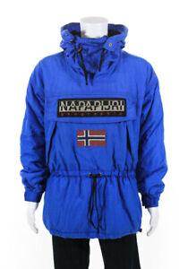 Napapijri Mens Hooded Drawstring Waist High Tech Jacket Blue Size Large