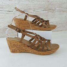 Marks & Spencer Bronze Leather Slingback Wedge Sandals Size 5.5 Summer Holiday