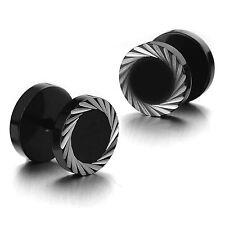 Damen Herren 316L Edelstahl Gestüt Ohrringe Spirale Ohrstecker Punk Schwarz 10mm