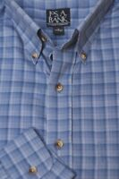 Jos A Bank Men's Stone Blue & Gray Check Cotton Casual Shirt L Large