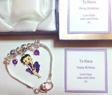 Purple Betty Boop Charm Bracelet Personalised Gift Box Birthday Christmas Gift