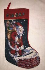 "Santa's Pro Creation Christmas Stocking with Santa in Chimney 16"" Tall"