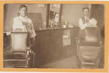Real Photo Postcard RPPC - Two Barbers in a Barber Shop