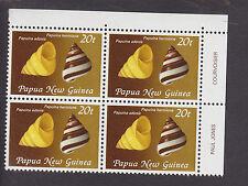 PAPUA NEW GUINEA-1982-LAND SNAIL SHELLS-20t VALUE-CORNER BLOCK OF 4-MUH