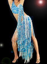 Blue & silver Samba Latin Salsa ballroom Sequin & lace Shiny Fringe dance dress