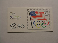 United States Scott 2528a, the Olympic Rings & Flag booklet Bk186 pane of 10