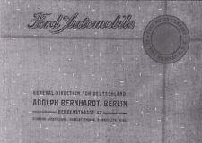Ford  Model T Prospekt von 1912 mit allen in Deutschland angeboten Modellen