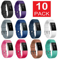 10 Pack Replacement Wristband For Fitbit Charge 2 Band Fitness Sport Small Large