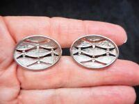 Authentic Vintage 1961 Silver Tone Open Work Men's Cufflinks