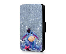 Eeyore Disney Donkey Printed Glitter Cute Faux Leather Phone Flip Case Cover