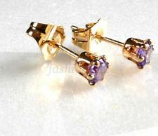 4mm 18K Yellow Gold Plated Lilac Simulated Diamond Men Unisex Stud Earrings