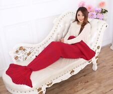 MERMAID TAIL SOFA BLANKET WARM CROCHETED KNIT LAPGHAN CREWEL COVERLET RED