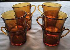 Vintage Duralex Amber Glass Coffee Tea Mug Set of 4 France 2 sets Available MCM