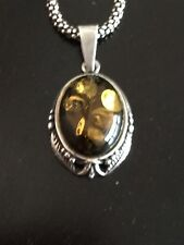 Sterling Silver Genuine Stunning Baltic Amber Cabochon Pendant Necklace