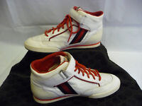GUCCI Mens Athletic Sneakers 10.5 G Hi Tops White Leather Red Trim Stripes Italy
