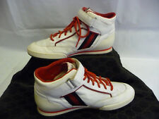 4409ce7ce931 GUCCI Mens Athletic Sneakers 10.5 G Hi Tops White Leather Red Trim Stripes  Italy