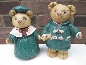 2 x Very Large Ceramic Bear Teddy Bear Ornaments