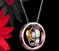 Women Gifts for her diamond mum trio ring necklace christmas rosegold silver mom