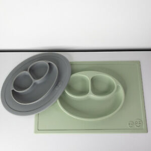 Lot EZ PZ Gray Baby Toddler Happy Mat Mini Mat Silicone Suction Plate Placemat