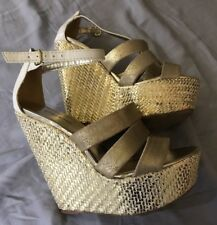Bebe Gold White High Heel wedge Sandals Shoes size 7
