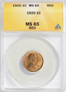 1920 Lincoln Cent - ANACS MS-65 RD - Mint State 65 Red Gem Uncirculated