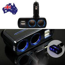 2 Way Socket Splitter Car Cigarette Lighter Charger Adapter 12V 2 USB Black AU