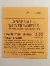 Ticket : Arsenal V. Wolverhampton 29/09/1979