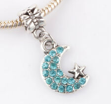 925 Silver CZ Moon and stars pendant Fit European Charm Bead Bracelet B#142