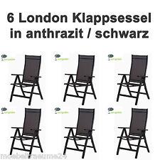 6 Gartenstuhl Sun Garden London Klappsessel In Silber schwarz Sessel Klappstuhl