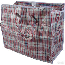 LARGE SHOPPING BAG 28x58x48 QUALITY WOVEN PVC PLASTIC LAUNDRY STORAGE BAGS ZIP
