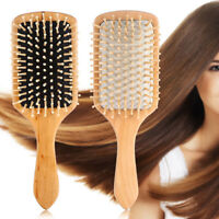 Hair Brush Paddle Detangling Bamboo Massage Straightening Hairs ~ Wood Brus T4M6