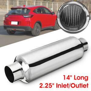 "2.25'' 14"" Long Car Exhaust Hotdog Muffler Pipe Resonator Stainless Steel AU"