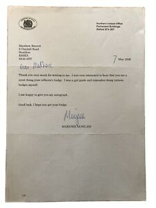 Mo Mowlam Signed Letter … Good Friday Peace Accord.