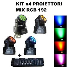 Kit X4 Proiettore Led Rgb Testa Mobile Rotante 7 Led Wash Dmx + Mixer Dmx Rgb
