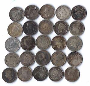 25 pc lot Canadian Silver Half Dimes 5c ***NO RESERVE***
