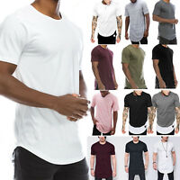 Mens Plain Short Sleeve T Shirt Slim Fit Longline Loose Crew Neck Casual Top Tee