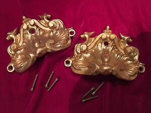 19th C Antique  Ormolu Bronze Furniture Piano Handle Pulls Gargoyle Pediment