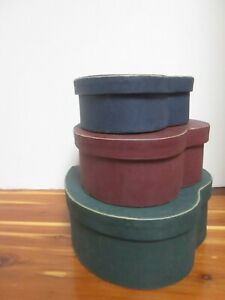 Set of 3 Nesting Heart Shaped BOXES  Primitive-BLUE,BURGUNDY,GREEN