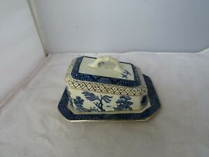 """ACHJ WILTON WARE""""YE OLDE CHINESE WILLOW"""" CHEESE/BUTTER DISH"""