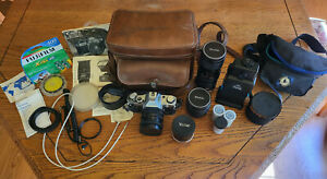 Canon AE-1 vintage film 35mm camera + 3 lens bundle + accessories *As is*
