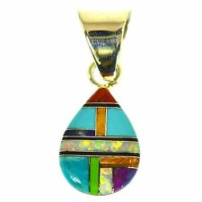 TURQUOISE SUGILITE CORAL ONYX OPAL MULTI GEMSTONE INLAY PENDANT STERLING SILVER