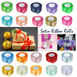 Full 25 Mtr's of Satin Ribbon 3/40/50mm Double Sided Rolls Christmas Craft Decor